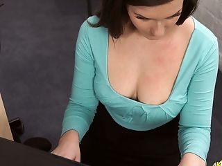See Flirty Office Honey Charlie Rose Exposing Her Sexy Decollete