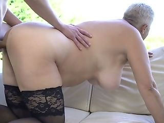 Matures Brief Haired Blonde Nymphomaniac In Black Stockings Is Fucked Rear End Hard