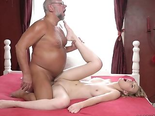 Lovely Youthful Blonde Amaris Is Making Love With Insatiable Old Pervert