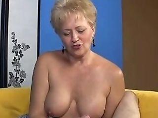 Old Blonde Masturbates Trouser Snake