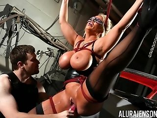 Buxomy Matures Adult Movie Star Alura Jenson Tied Up And Tormented By A Man