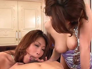 Big-boobed Japanese Mummy Honies Share A Manmeat And Stuff Each Others Vulvas