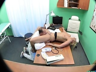 Skinny Blonde Patient Joana Milky Examined With A Doc's Dick
