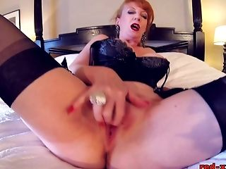 Brit Red-haired Crimson Frigs Her Tastey Coochie In Underwear