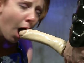 Yam-sized Fake Penis Pole Makes Bondaged Bitch Wail In Agony