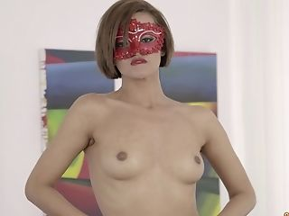 Masked Dark-haired Nubile Alicia Poz Has Her Face Splattered With Jizz