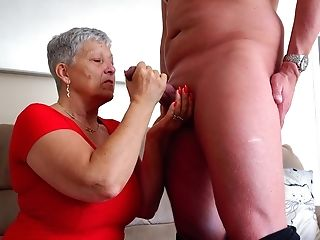 Matures Granny With Saggy Titties On Her Knees Sucking A Fat Meatpipe
