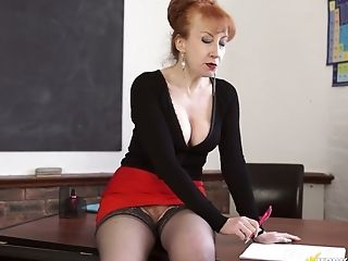 Lewd Crimson Haired Matures Professor Flashed Her A Bit Hairy Vulva