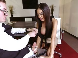 Long Legged Assistant Shay Evans Gives A Footjob To Her Chief And Loves Sucking His Pole