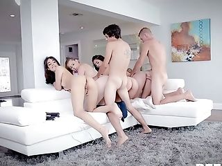 Pretty Svelte Stunner Xeena Mae Lets Two Studs Fuck Her During Non-traditional Orgy