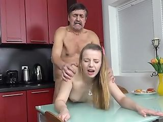 Lovely Chick Gets Her Little Twat Smashed On Kitchen Floor