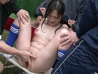 Japanese Mummy Gang-fucked By A Football Team Outdoors