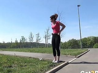 Crimson Haired Sexy Gal Pisses Outdoors When Having Nice Morning Walk
