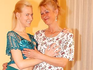 Two Blonde Old And Youthfull Lesbos Have Joy